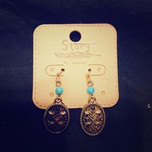 Turquoise and red gold earrings